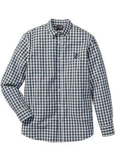 Клетчатая рубашка Regular Fit с длинным рукавом (синий/оливковый/белый в клетку) Bonprix