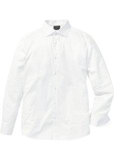 Стрейчевая рубашка Slim Fit с минималистским узором (нежно-голубой с узором) Bonprix