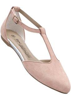 Замшевые балетки на ремешке (ярко-розовый/телесный) Bonprix