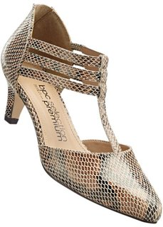 Кожаные туфли на ремешке (змеиный рисунок/красный) Bonprix