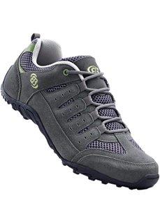 Удобные кожаные кроссовки на шнуровке от Brütting (серый/зеленый лайм) Bonprix