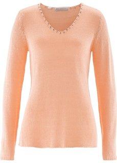 Пуловер со стразами (мятный пастельный/серебристый) Bonprix