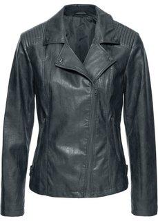Байкерская куртка из искусственной кожи линялой расцветки (коричневый) Bonprix