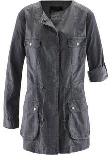 Удлиненная джинсовая куртка (синий «потертый») Bonprix