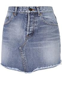 Джинсовая мини-юбка с бахромой Saint Laurent