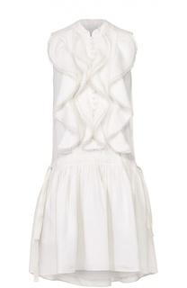 Льняное мини-платье без рукавов с оборками Chloé