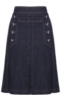 Джинсовая юбка-миди со складками и контрастной прострочкой Escada Sport