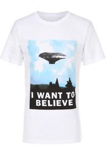 Хлопковая футболка с принтом Dedicated
