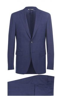 Шерстяной приталенный костюм с пиджаком на двух пуговицах Canali