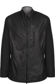 Двусторонняя кожаная куртка на молнии с воротником-стойкой Giorgio Armani