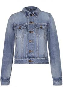 Укороченная джинсовая куртка с вышивкой на спинке Saint Laurent