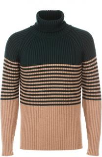 Шерстяной свитер с высоким горлом в контрастную полоску Moncler