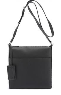 Кожаная сумка-планшет с внешним карманом на кнопке Fendi