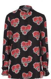 Шелковая блуза с воротником-стойкой и цветочным принтом Alexander McQueen