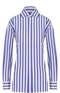 Хлопковая блуза прямого кроя в полоску Ralph Lauren