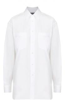 Хлопковая блуза прямого кроя с накладными карманами Ralph Lauren