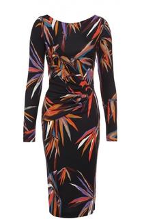 Платье-футляр с цветочным принтом и драпировкой Emilio Pucci