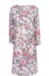 Льняное мини-платье с цветочным принтом 120% Lino