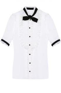 Шелковая блуза с коротким рукавом и контрастной отделкой Dolce & Gabbana