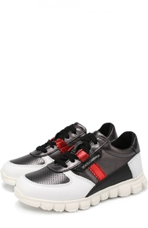 Кожаные кроссовки на массивной подошве Dolce & Gabbana