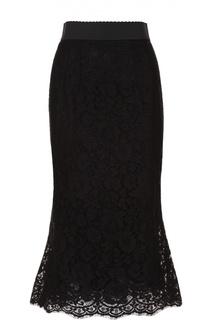 Кружевная юбка годе с широким поясом Dolce & Gabbana