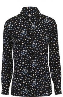 Шелковая блуза прямого кроя с принтом в виде звезд Saint Laurent