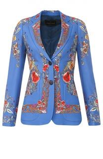 Приталенный жакет с ярким принтом и накладными карманами Roberto Cavalli