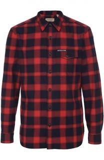 Хлопковая рубашка в клетку с воротником кент Burberry