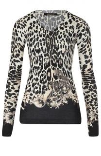 Облегающий пуловер с леопардовым принтом и V-обраным вырезом Roberto Cavalli