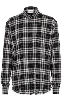 Хлопковая рубашка свободного кроя с необработанным краем Saint Laurent