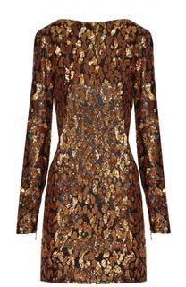 Мини-платье прямого кроя с контрастной вышивкой пайетками Balmain