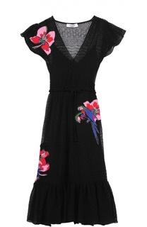 Приталенное платье-миди с укороченным рукавом Valentino