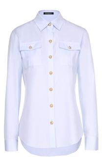 Блуза прямого кроя с накладными карманами и контрастными пуговицами Balmain