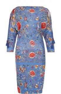 Мини-платье с ярким принтом и укороченным рукавом Roberto Cavalli