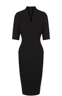 Приталенное платье с V-образным вырезом и коротким рукавом Escada