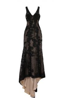 Приталенное кружевное платье в пол с подолом Basix Black Label