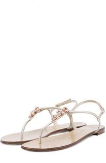 Кожаные сандалии с кристаллами Giuseppe Zanotti Design
