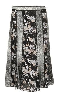 Шелковая юбка миди с контрастными вставками Kenzo