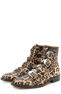 Кожаные ботинки с заклепками и рисунком под леопарда Givenchy