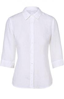 Льняная приталенная блуза с укороченным рукавом 120% Lino