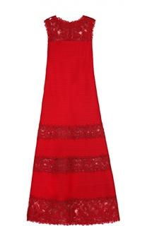 Приталенное платье в пол с кружевными вставками Tadashi Shoji