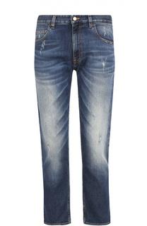 Укороченные джинсы прямого кроя с потертостями Moschino