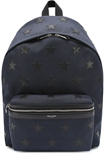 Текстильный рюкзак с отделкой из натуральной кожи Saint Laurent