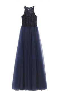 Приталенное платье в пол с вышивкой бисером Basix Black Label