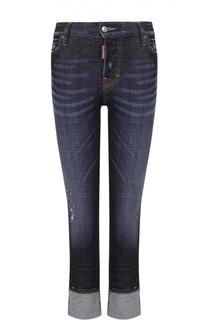Укороченные джинсы-скинни с потертостями и отворотами Dsquared2