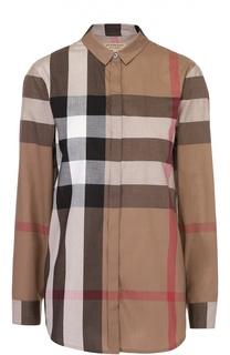 Хлопковая приталенная блуза в клетку Burberry