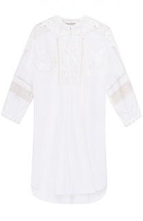 Хлопковая блуза свободного кроя с вышивкой и перфорацией Valentino