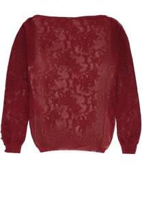 Полупрозрачный облегающий пуловер с вырезом-лодочка Oscar de la Renta