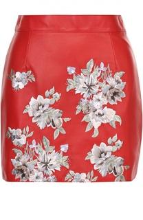 Кожаная мини-юбка с цветочной вышивкой Alexander McQueen