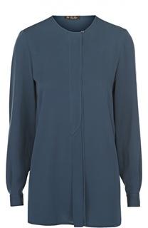 Удлиненная шелковая блуза с круглым вырезом Loro Piana